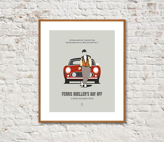 FERRIS BUELLERS DAY OFF Minimalist Movie Poster. John Hughes Film.  This Ferris Buellers Day Off minimalist poster is the perfect choice for your home or office and makes a great gift for all the John Hughes fans. The chic minimal design will compliment any wall in your house, adding a distinctively modern sensibility.  Printed on fine archival matte paper with high-quality archival inks, it will last for years to come. This item is for prints only. Mat and frame not included.  **BUY 3 or…