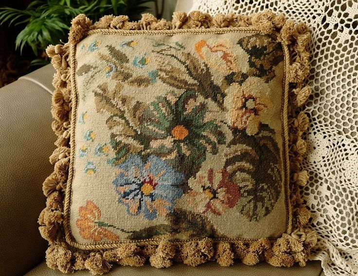 "14"" Old Vintage Hand Stitched Shabby French Farmhouse Decor Wool Pillow #Unbranded"