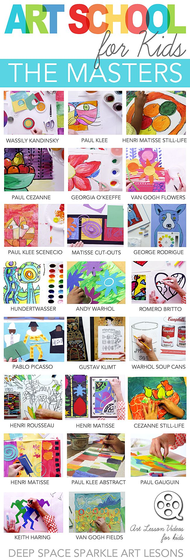Tried and true art lesson plans and videos for elementary school that feature more than 15 Art Masters that resonate with kids.  Art School for Kids online art classes.