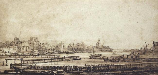 Vista do rio Amstel. Desenho, 1647-50