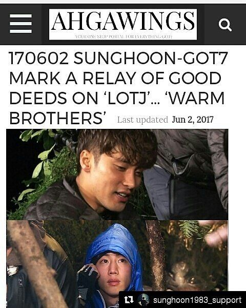 30 個讚,1 則留言 - Instagram 上的 Debbie Moh(@debbie_moh):「 #Repost @sunghoon1983_support ・・・ 170602 #SUNGHOON - #GOT7 #MARK A RELAY OF GOOD DEEDS ON 'LOTJ'…… 」