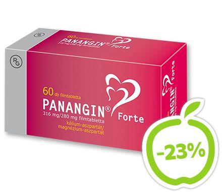 Panangin Forte 316 mg/280 mg filmtabletta 60x. Ajánlott krónikus szívbetegségek (szívelégtelenség, szívinfarktus utáni állapot), valamint  egyes szívritmuszavarok kiegészítő kezelésére, a kezelőorvos jóváhagyásával. Vény nélkül kapható gyógyszer: A kockázatokról és a mellékhatásokról olvassa el a betegtájékoztatót, vagy kérdezze meg kezelőorvosát, gyógyszerészét! EP kártyára kapható. Eredeti ár: 2689 Ft, Akciós ár: 2059 Ft