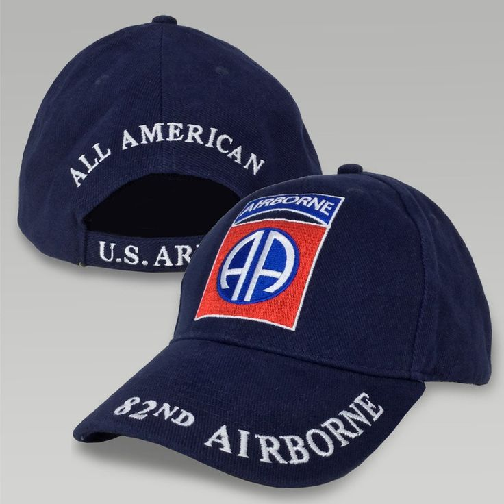 """Display some Army Pride with this Army 82nd Airborne Hat! &nbsp  100% Cotton Twill One size fits most Adjustable brass buckle in back Embroidered 82nd Airborne logo on front Embroidered """"82nd Airborne"""" on bill Embroidered """"All American, US Army"""" on back of hat"""