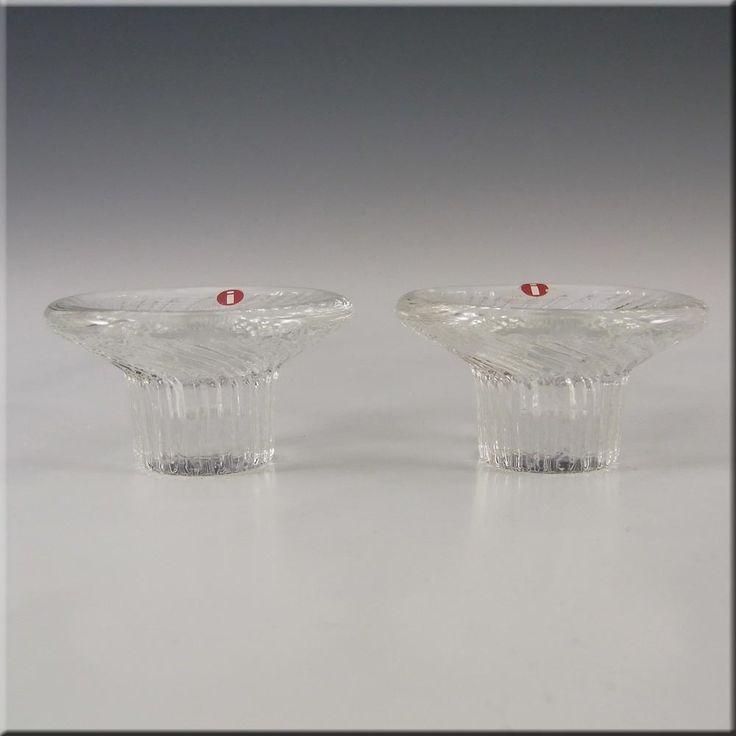 Iittala Glass Valto Kokko 'Poppa'' Candlesticks - Label - £17.99