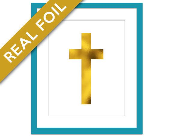 Christian Cross Gold Foil Art Print - Christian Gifts - Christian Art Home Decor - Christian Poster - Christian Icon - Christian Wall Art