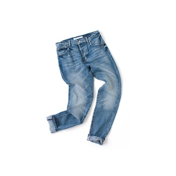 Tapered Denim Pants (8.225 RUB) ❤ liked on Polyvore
