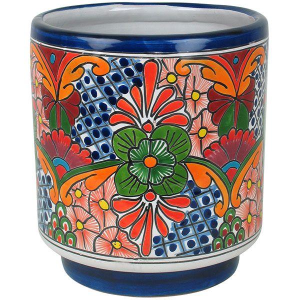 Cylinder Talavera Flower Pot   Mexican Garden Pottery