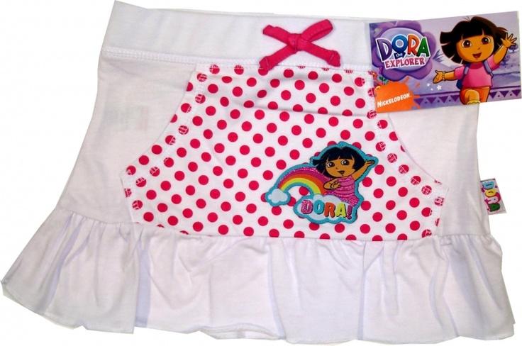 Haine Copii - Fustita Dora alba- 302019.01 (Haine copii cu personajul Dora , 4-5 ani, fustite )
