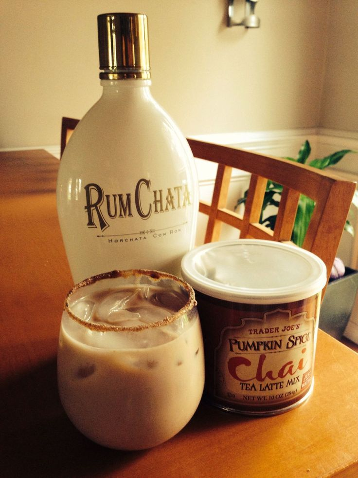 Perfect fall cocktail! Iced or hot, I love it either way! A cup of Trader Joes Pumpkin Spice Chai Tea, with a shot (or more, I don't judge) of Rum Chata!