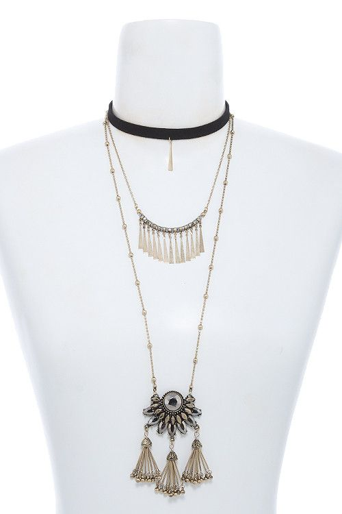 {Fringe Bar Layered Choker Necklace}