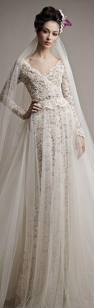 ersa atelier 2015 yatie long sleeve exquisite lace details sheath wedding dress tulle over skirt #sheathweddingdress #weddingdresses