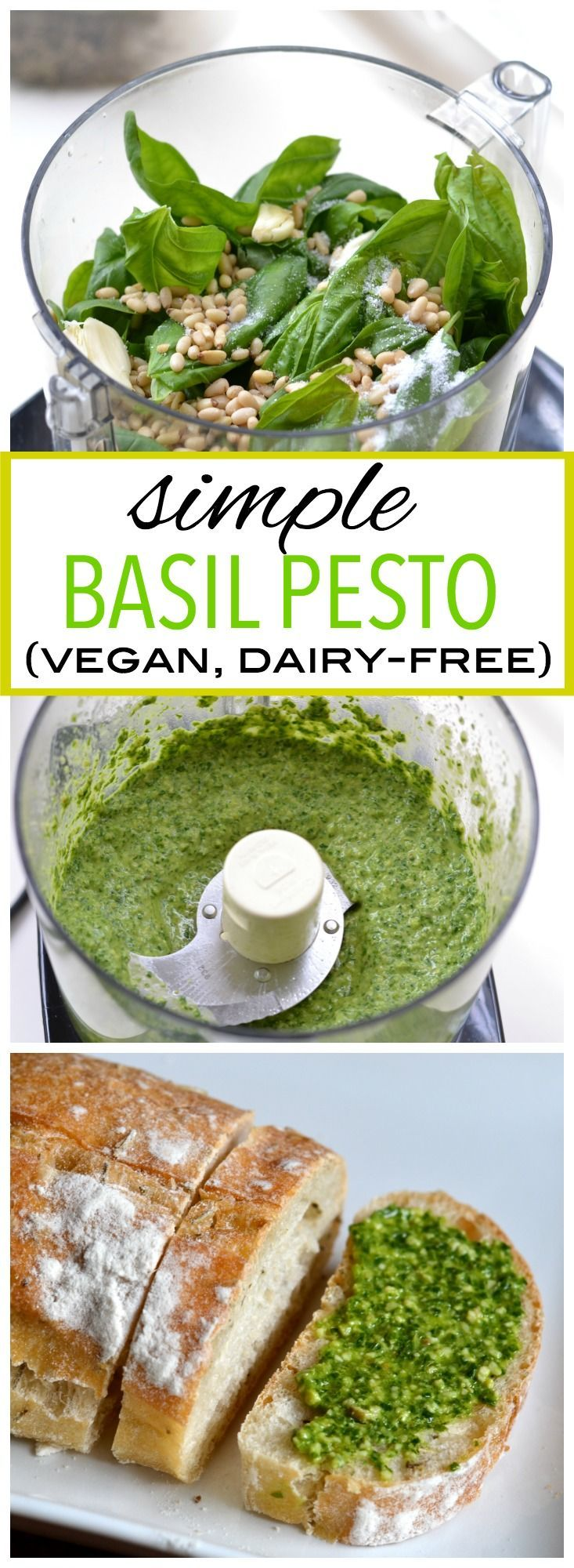 This simple pesto recipe only requires five ingredients, and is packed full of fresh flavor! (Dairy-free, vegan).