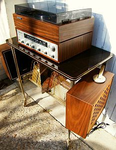 chaîne hifi SONY 122 complète sur meuble formica Vintage