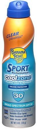Banana Boat Sport Performance UltraMist CoolZone Continuous Spray Sunscreen, SPF 30 Refreshing, Clean Scent