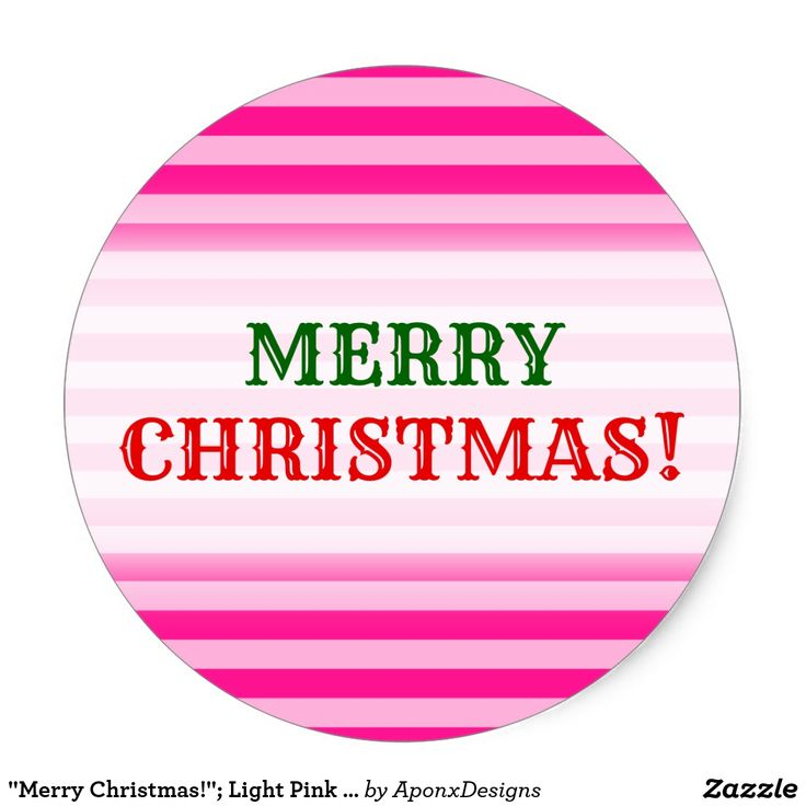 """Merry Christmas!""; Light Pink & Deep Pink Stripes"