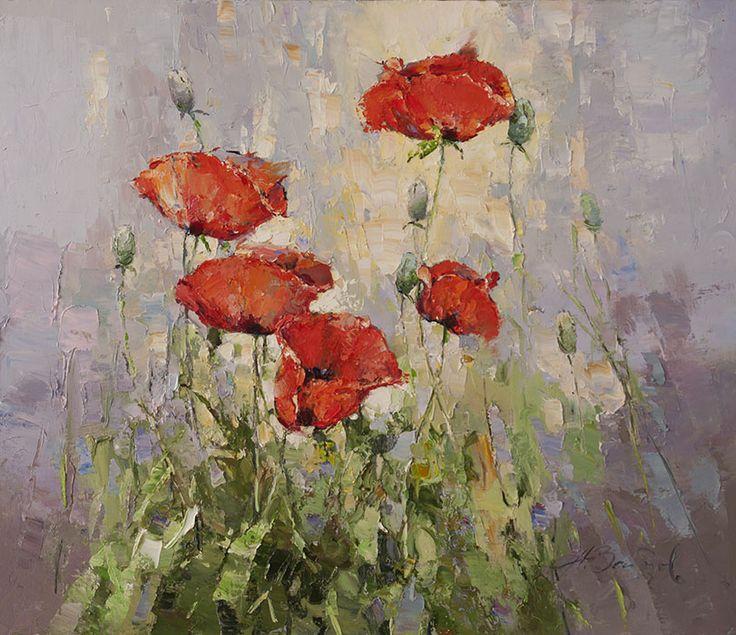 Маки, Алексей Зайцев- нежные красные цветы, картина импрессионизм