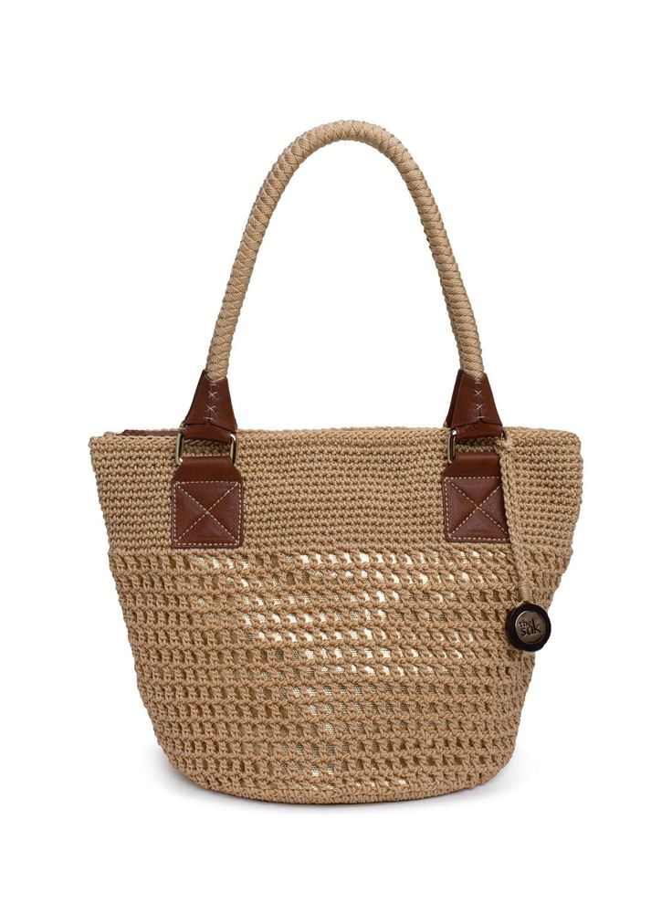 Cambria Medium Round Tote, Bamboo with Gold