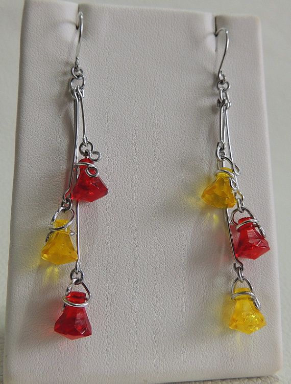 Translucent Yellow and Red Triple Lego Drop by StarTideDesigns, $35.00