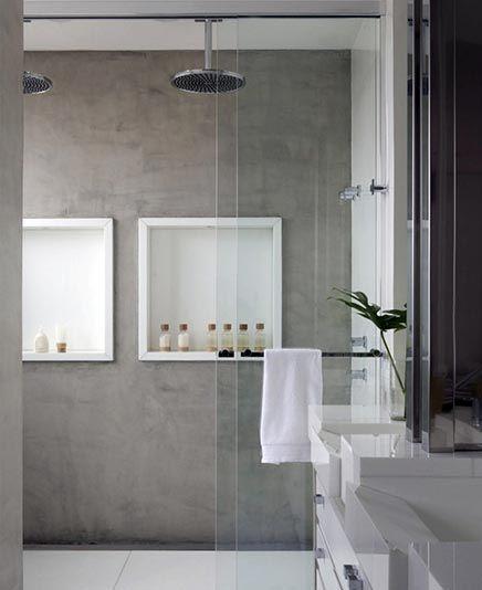 Betonnen badkamer - hoe praktisch - bijna geen voeg meer schoon te maken