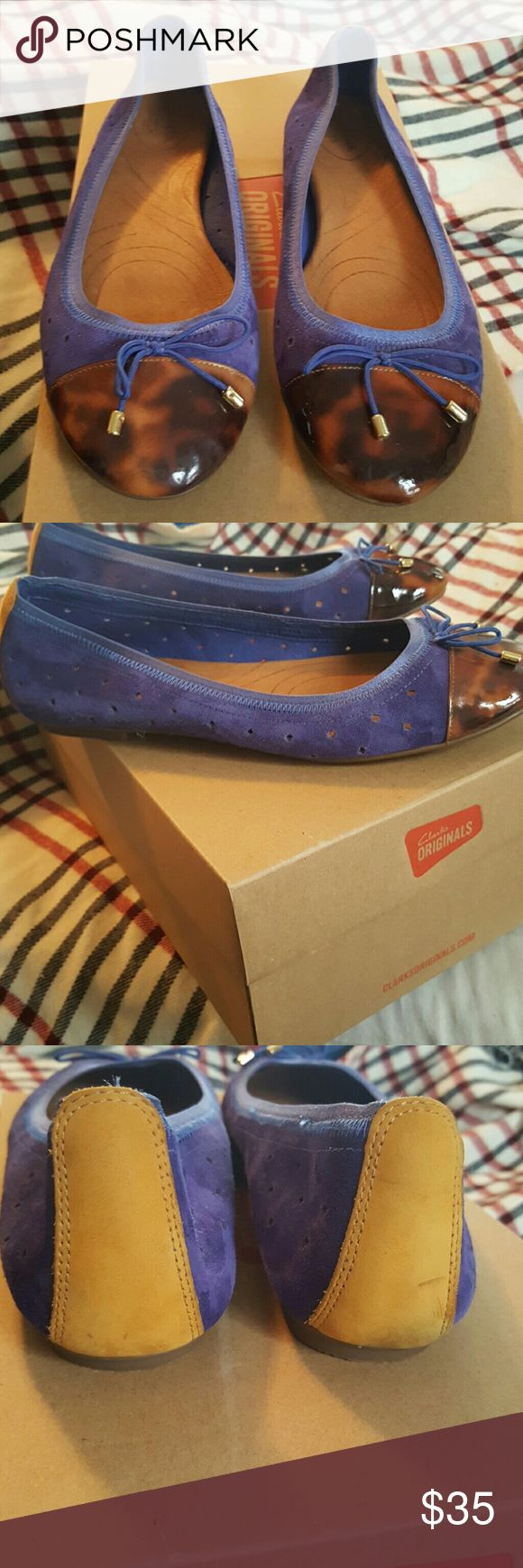 Clark's Flats (Indigo collection) deep indigo(almost purple) colored suede upper, leather insoles super comfortable  gently used Clarks Shoes Flats & Loafers