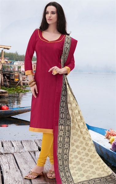 Picture of Alluring Red Churidar Kameez with Designer Dupatta