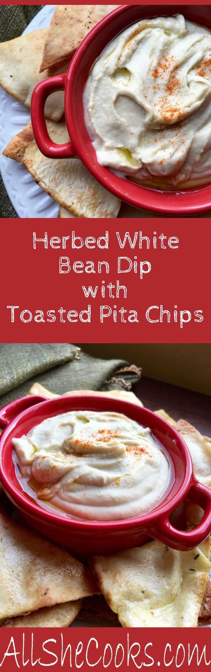 Herbed White Bean Dip with Toasted Pita Chips is a simple dip recipe that is perfect to serve at a holiday party. Appetizer recipes are always winners.