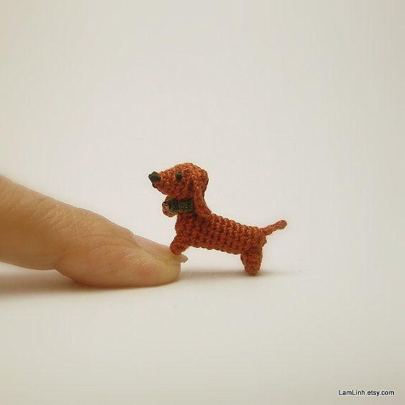 Miniatur Tier 0 6 Zoll Puppenhaus Hakeln Braun Von Lamlinh Amirugumi Dackel Hund Dackel Tiere Hakeln