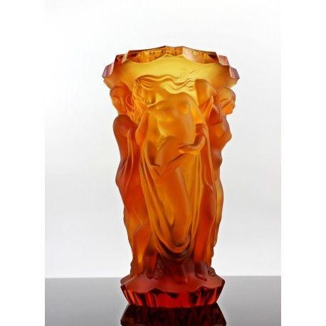 Lalique Style Bohemian Art Deco Amber Glass Vase