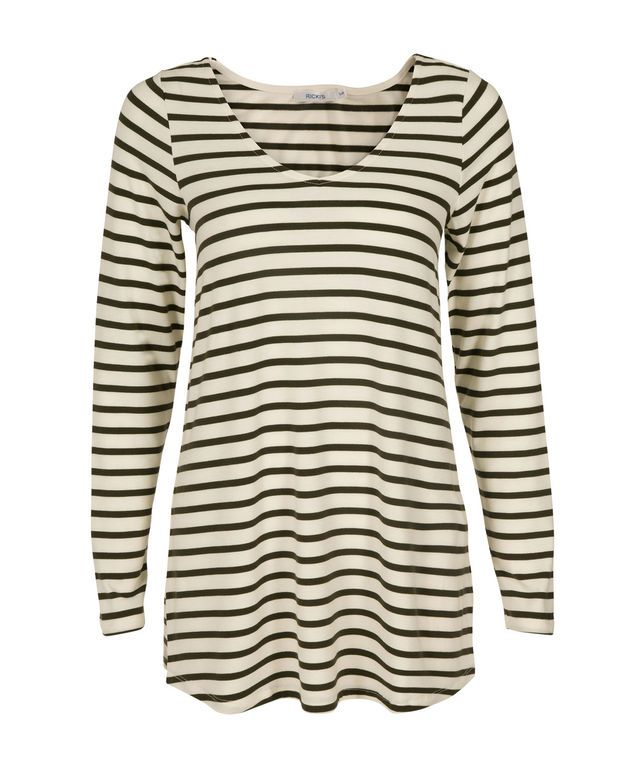 Relaxed Stripe Top, Olive/White