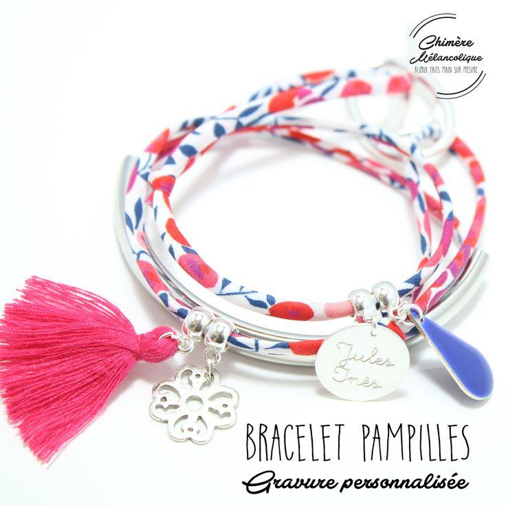 Bracelet Liberty PAMPILLES NOIR avec Gravure personnalisée : Bracelet par chimere-melancolique