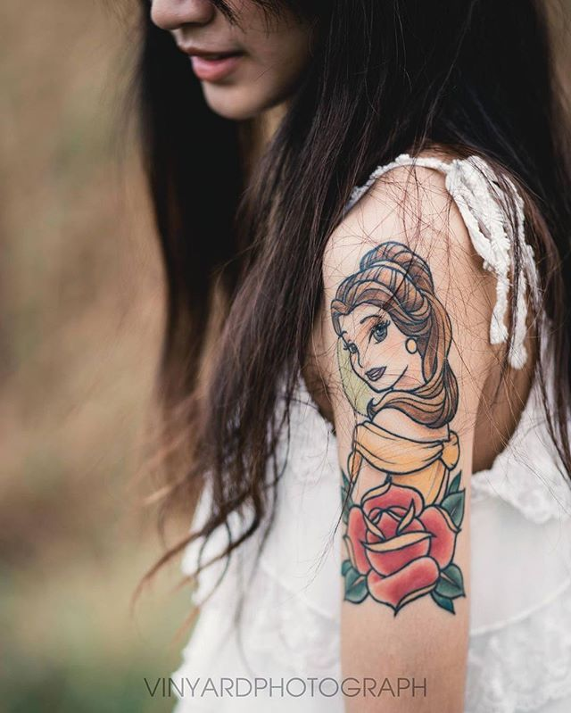 Belle Tattoo - from Beauty and the Beast.  #disneyprincess #tattoo #disneytattoo