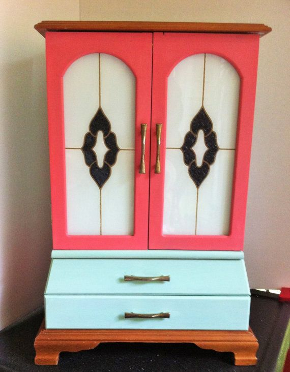 Mid Century Modern Jewelry Box Amoire Painted With Aqua And Coral Art Deco  Black And White Doors , Mirror Jewelry Cabinet