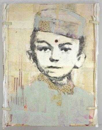 LOUIS BOUDREAULT, Gandhi, 2007 graphite, charcoal, pastel, gouache, paper collage on board. Photo Kevin Bertram