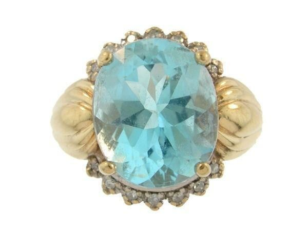 Ladies 10K Yellow Gold Blue Topaz & Diamond Ring #Cocktail