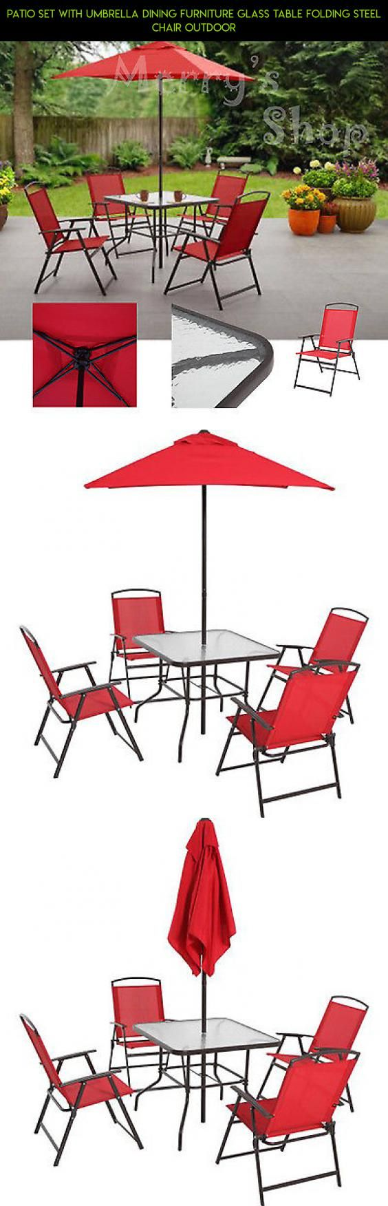 Patio Set With Umbrella Dining Furniture Glass Table Folding Steel Chair Outdoor #parts #shopping #technology #camera #fpv #drone #patio #with #plans #kit #racing #tech #gadgets #furniture #products #umbrella