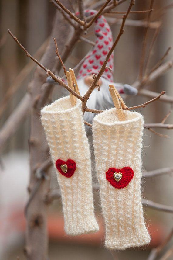 Валентина подарка, перчатки без пальцев, подарок для нее, белые Fingerless Рукавицы, Варежки Перчатки с сердцем, шерсть зимние варежки, ручные Подогреватели
