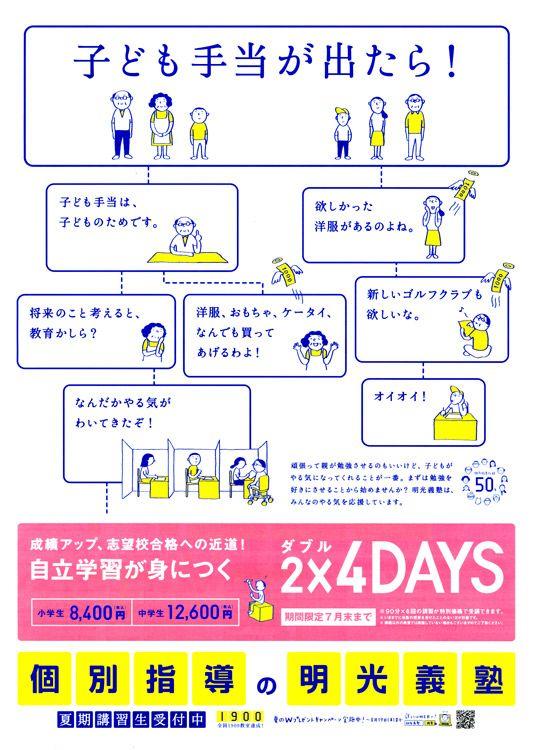 明光義塾 夏期講習受付の折り込みチラシ(東京都八王子市)