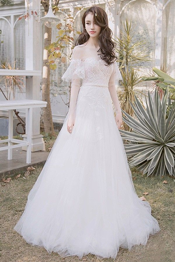 14a2f17d8b Off Shoulder Leaf Shape Lace Aline Beach Boho Wedding Dress ...