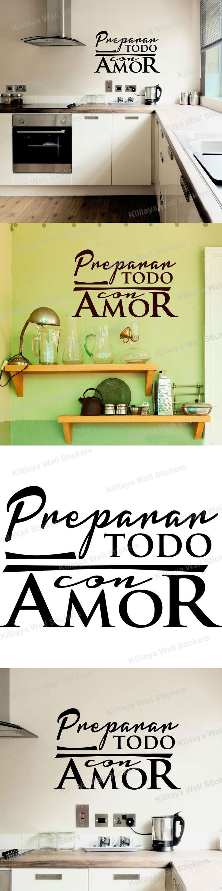 Stickers Cuisine Spanish Vinyl Wall Tile Sticker Wall Decals Quote Lettering Wallpaper for Kitchen Decoration Home Decor 35x55cm