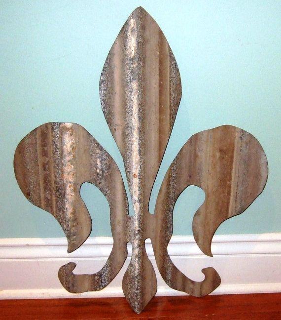 Fleur de Lis corrugated tin Old Cajun barn and by GabbysCloset, $42.56