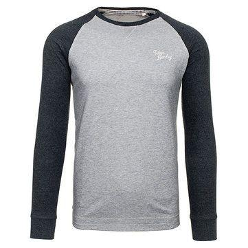 Mens Casual Stitching Sleeves Sport Long Sleeve T-shirt O-neck Collar Cotton Tops at Banggood
