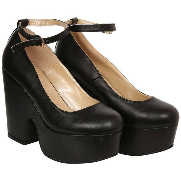 Black Demi Wedge Ankle Strap Shoe, Pilot clothing – pilot (170 RON) ❤ liked on Polyvore featuring shoes, kohl shoes, black ankle strap shoes, ankle strap shoes, black shoes and ankle tie shoes