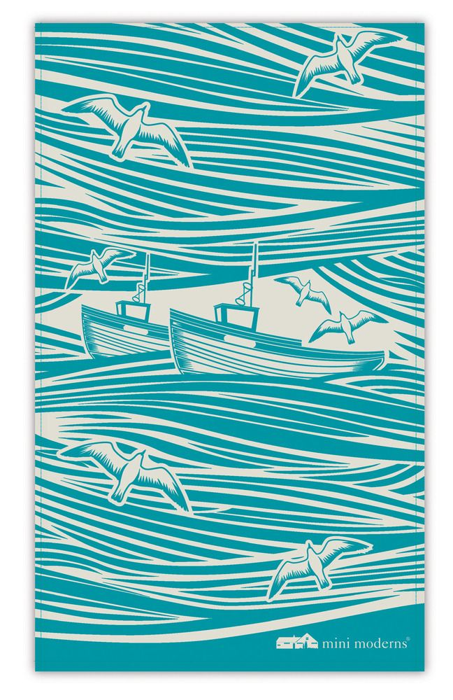 Whitby tea towel - wonderful pattern