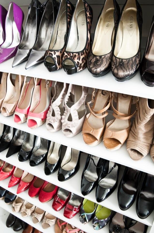 Homemade Shoe Shelves Slightly Slanted Or A Store Like