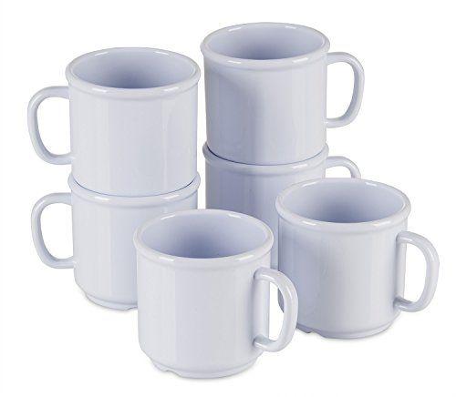 New Durable Stackable Plastic Mug Set, BPA Free, 6 Pack Plastic Mugs with Handles, 10 oz Non-Melamine Cups, Dishwasher Safe, Microwave Safe, Clipper White Mug Set