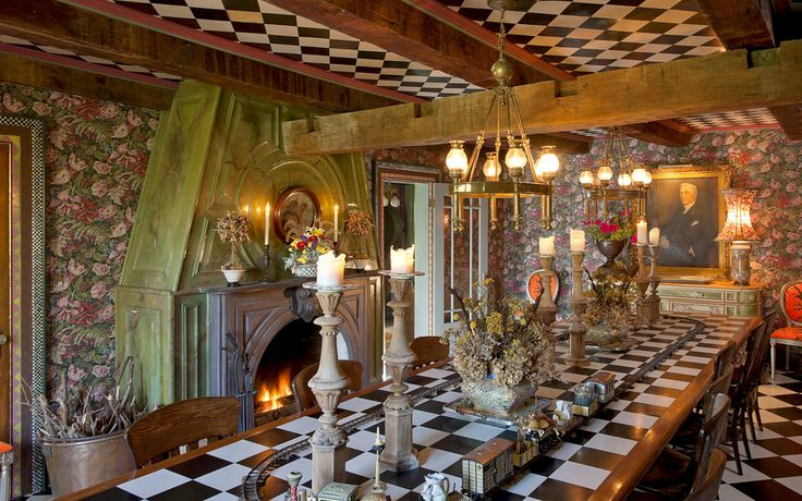 The interior of the home is a reflection of their whimsical collection, and includes many of the 'prototypes' that would later become top sellers for the couple, said Mr. MacKenzie-Childs. The dining room, pictured above, evolves to suit the needs of the couple's many unique dinner parties. Atop the 16-foot-long plywood table that the couple built in this room sits a train set that would carry ice cream toppings to guests, he said. On another occasion, a 3-inch-deep pond was set at the…