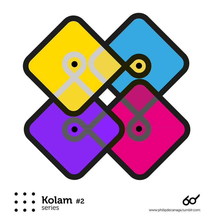 Kolam #2 - Sixties  www.philipdecanaga.tumblr.com  Wikipedia : A Kolam is a geometrical line drawing composed of curved loops, drawn around a grid pattern of dots. In South India, it is widely practised by female Hindu family members in front of their homes.[1] Kolams are regionally known by different names in India , Raangolee in Maharashtra, Hase and Raongoli in Kannada in Karnataka, Muggulu in Andhra Pradesh, etc.,[2]