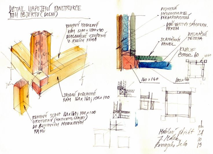 ecovastudesign / Modular Building - Rovinjsko Selo / Preliminary design, sketches of details