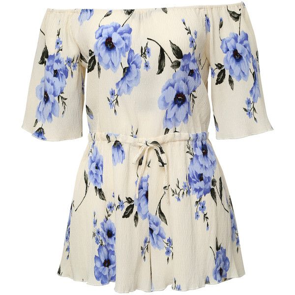 Blue and White Off The Shoulder Floral Jumpsuit (€20) ❤ liked on Polyvore featuring jumpsuits, jump suit, off the shoulder jumpsuit, blue and white jumpsuit, sleeved jumpsuit and off shoulder jumpsuit