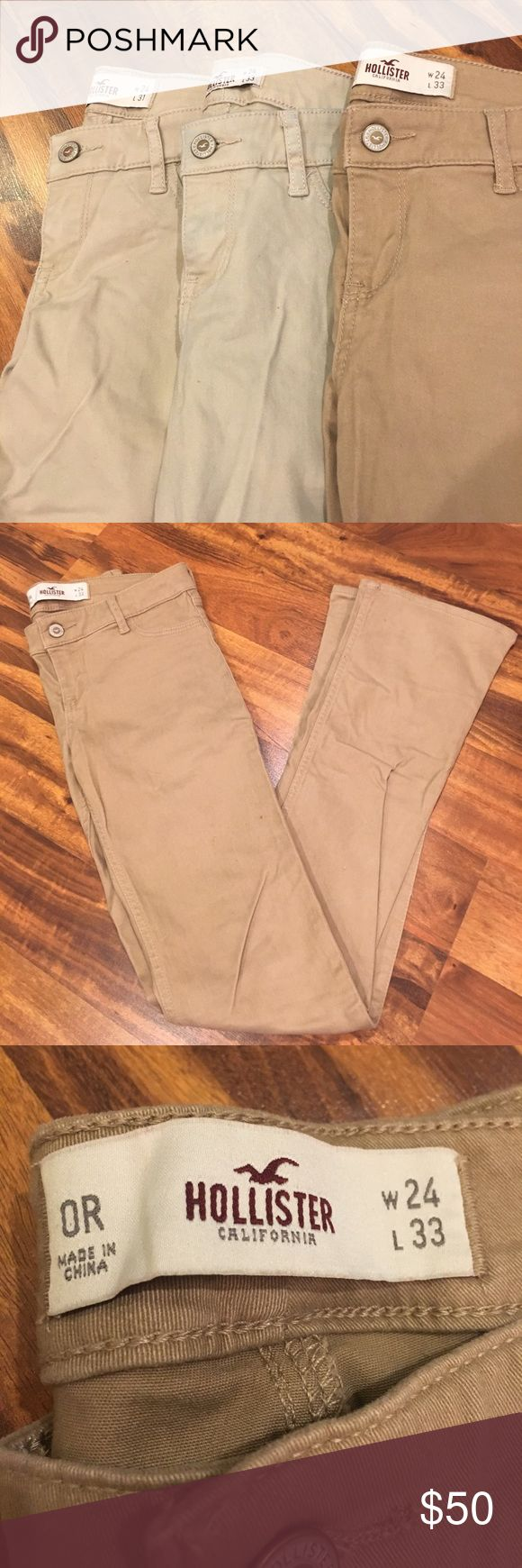Lot of (3) Hollister khakis size 0r 3 Hollister khakis in size 0 regular. One deep tan and two light tans. Two boot cuts and one skinny pair. Gently worn. Only air dried. Hollister Jeans